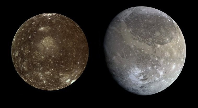 Jupiter moons Callisto (Left) and Ganymede (Right).