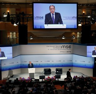Russian Foreign Minister Sergei Lavrov addresses during the 51st Munich Security Conference at the 'Bayerischer Hof' hotel in Munich February 7, 2015.