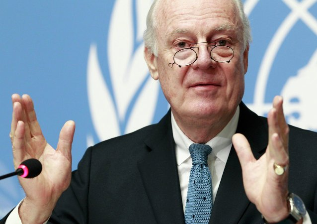 United Nations Special Envoy of the Secretary-General for Syria Staffan de Mistura addresses the media during a press conference at the Palais des Nations in Geneva, January 15, 2015