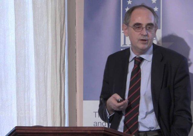 Screenshot from a video of Edward Lucas giving a speech in January on EU-Russian relations