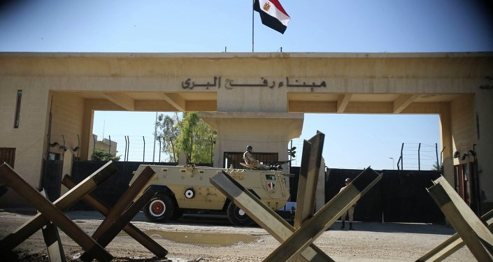 An Egyptian soldier keeps watch at the closed Rafah border crossing, between southern Gaza Strip and Egypt.