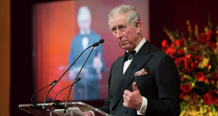 The Prince of Wales gives a speech as he attends the British Asian Trust dinner in central London.