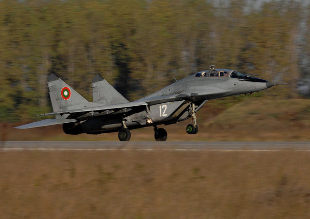 A Bulgarian Air Force MiG-29 Fulcrum aircraft takes off for a combat training mission during exercise Rodopi Javelin 2007 at Graf Ignattevo Airfield, Bulgaria, Oct. 17, 2007