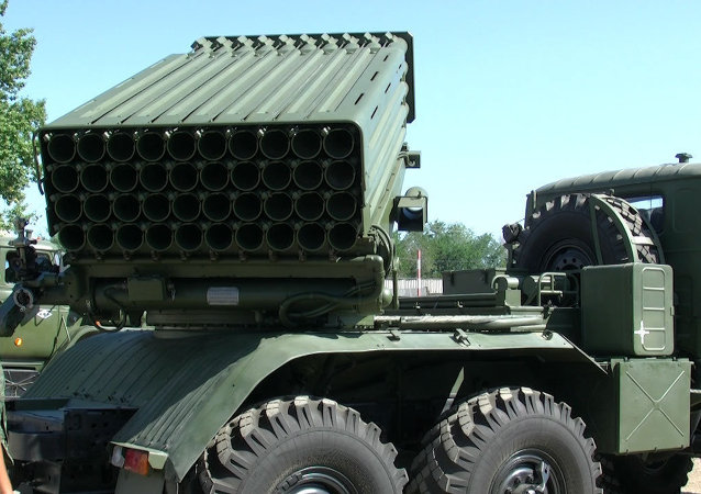 Tornado-G multiple rocket launcher system. File photo