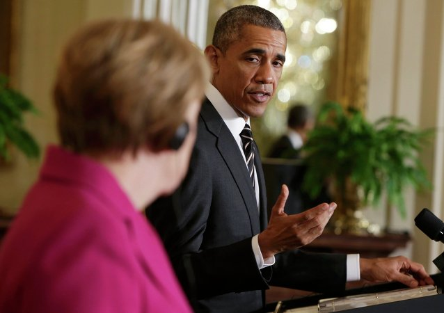 U.S. President Barack Obama speaks during a joint news conference with German Chancellor Angela Merkel in the East Room of the White House in Washington February 9, 2015