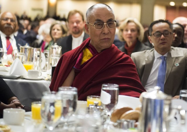 The Dalai Lama attending the National Prayer Breakfast in Washington, DC, February 5, 2015
