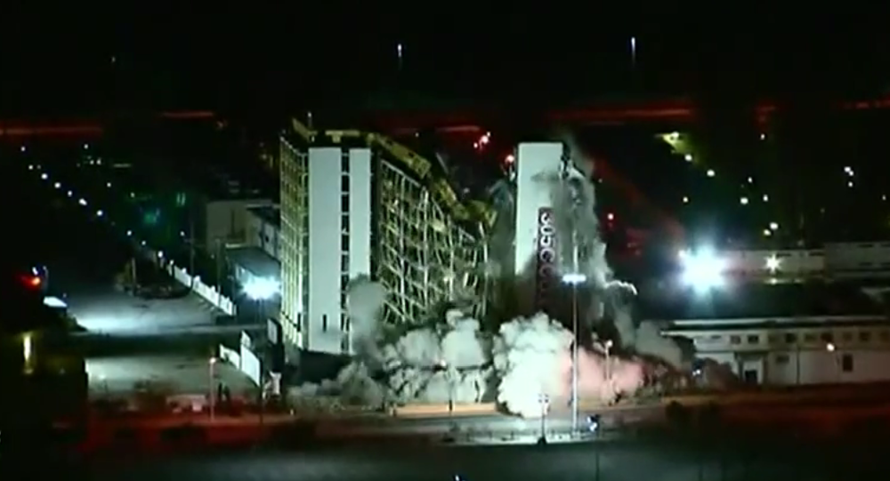The Clarion casino-hotel in Las Vegas was demolished on Tuesday morning.