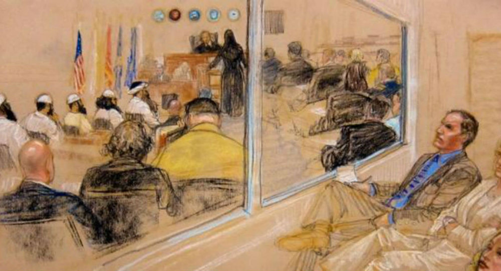 A courtroom drawing depicts the pre-trial hearing of the five alleged plotters in the September 11, 2001, attacks.