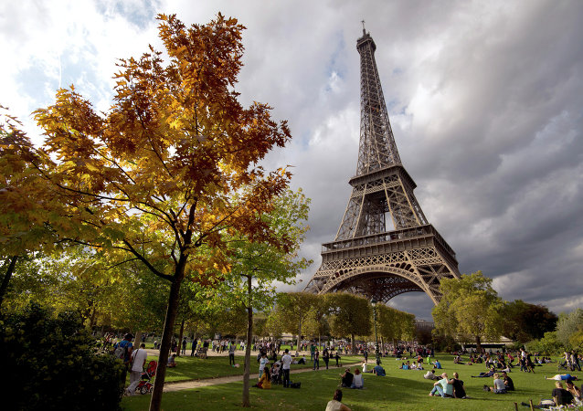 People enjoy sunbathing and relaxing by the Eiffel Tower in Paris