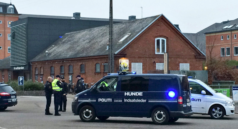 Emergency services gather outside a venue after shots were fired where an event titled Art, blasphemy and the freedom of expression was being held in Copenhagen
