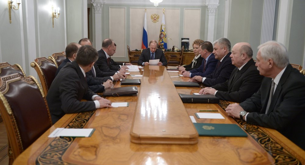 Russian President Vladimir Putin held a meeting with members of the Russian Security Council 16 February, 2015