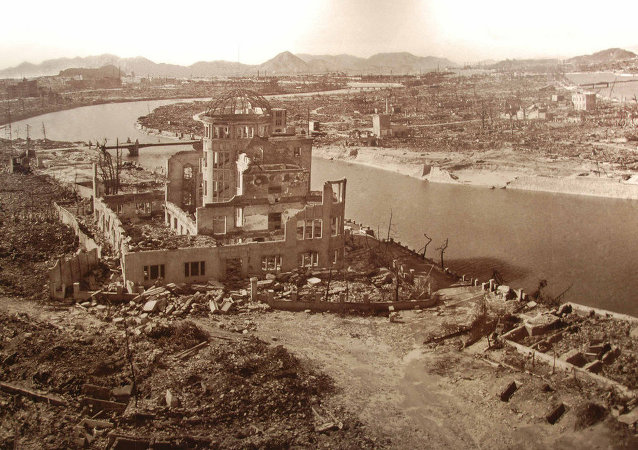 This is a picture of a picture, taken at the Hiroshima Peace Memorial museum. It displays the complete destruction brought about by the atomic bomb on August 6 1945 at exactly 8:15 am