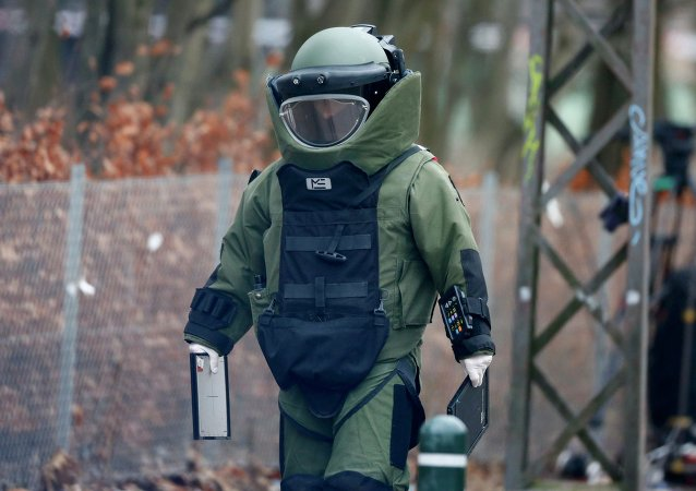 A bomb disposal expert makes his way to investigate an unattended package in front of a cafe in Oesterbro, Copenhagen February 17, 2015