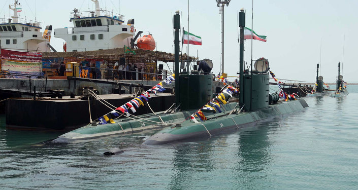 A new Iranian submarine, Ghadir, is unveiled during a ceremony in the southern port city of Bandar Abbas on August 8, 2010