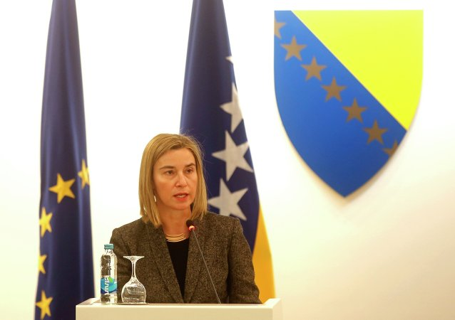 European Union Foreign Policy Chief Federica Mogherini speaks to Bosnian politicians in Parliament building in Sarajevo, February 23, 2015
