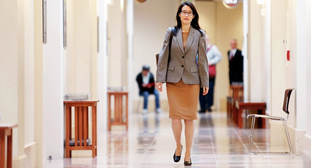 Ellen Pao walks to the courtroom before the start of her trial at San Francisco Superior Court in San Francisco, California, February 23, 2015