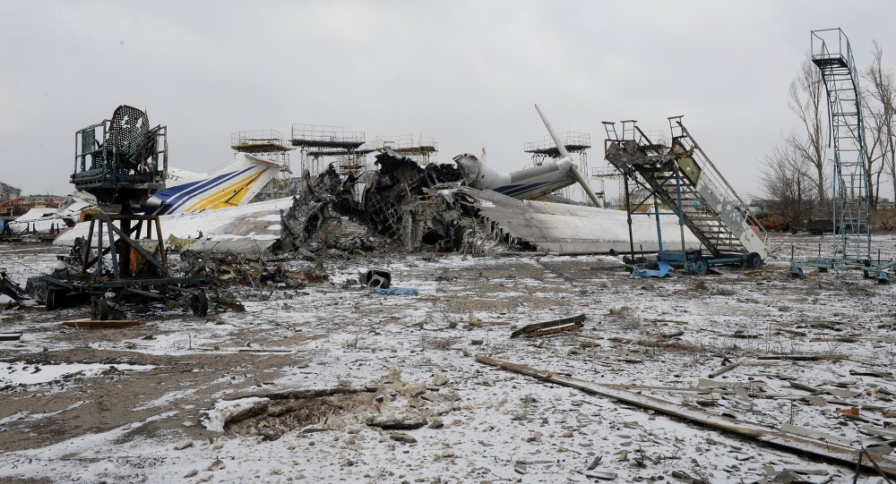 Aircraft destroyed by shelling in the airport of Donetsk