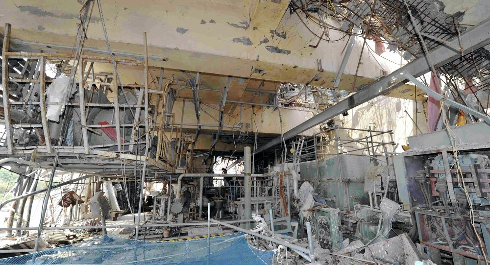 The inside of the tsunami-crippled No. 4 reactor building is seen during a press tour at Tokyo Electric Power Co.'s (TEPCO) Fukushima Dai-ichi nuclear power plant in Okuma, Fukushima Prefecture, Japan, Saturday, May 26, 2012.