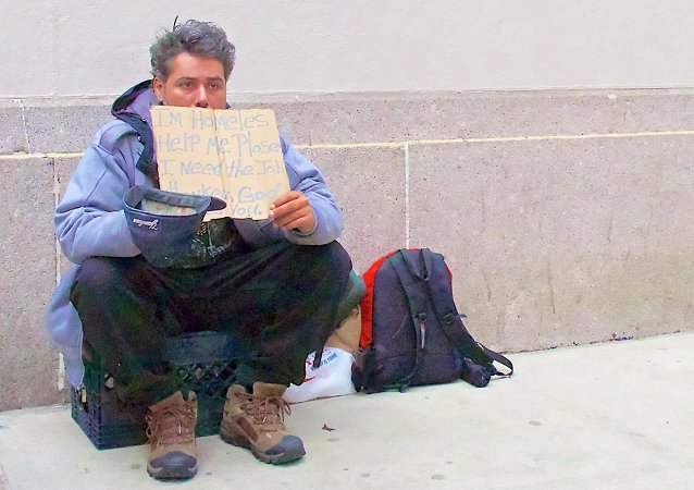 Homeless and unemployed man in New York