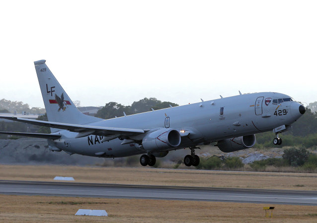 A US Navy P-8 Poseidon takes off