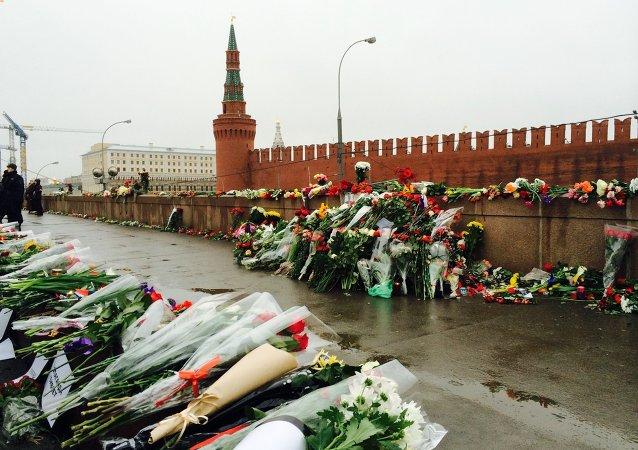 Flowers at a murder scene of politician Boris Nemtsov