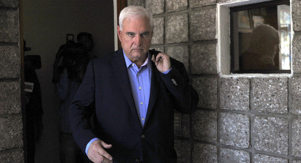 Panamanian former president and deputy of the Central American Parliament (Parlacen) Ricardo Martinelli arrives to a parliament's plenary session in Guatemala city