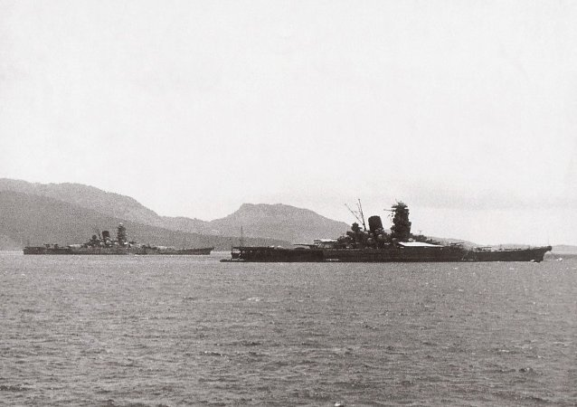 Musashi and Yamato in Truk Lagoon in early 1943