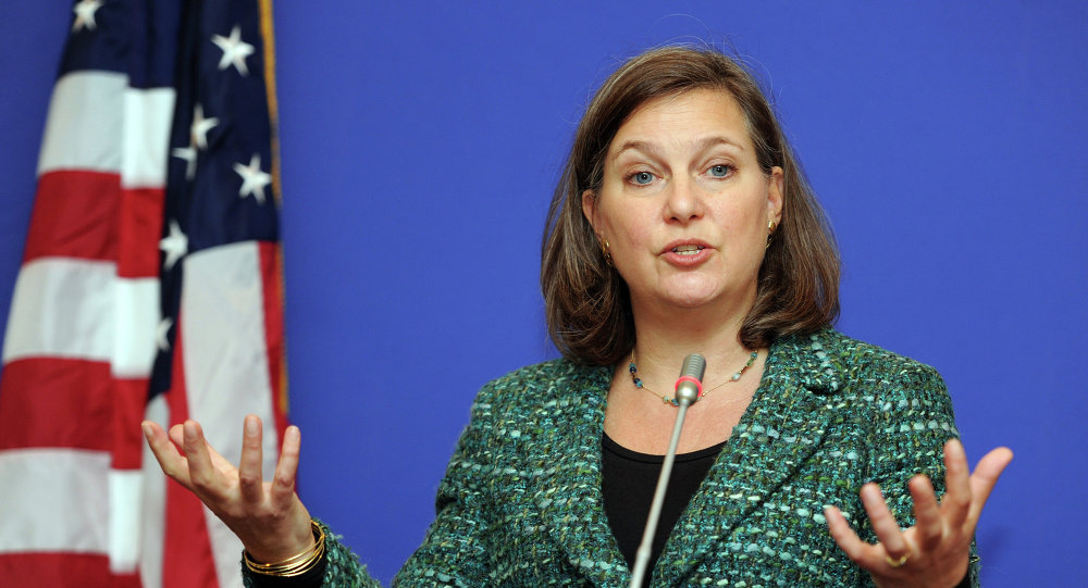 US Assistant Secretary of State for European and Eurasian Affairs Victoria Nuland gestures as she speaks during her press conference in Tbilisi on February 17, 2015