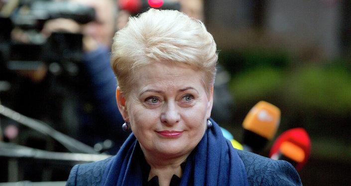 Lithuanian President Dalia Grybauskaite arrives for an EU summit in Brussels