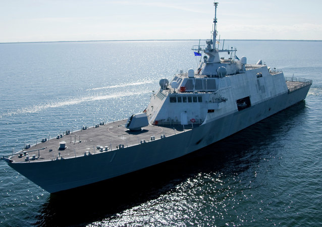 This July 28, 2008 file photo shows USS Freedom, the first ship in the Navy's new Littoral Combat Ship (LCS) class.
