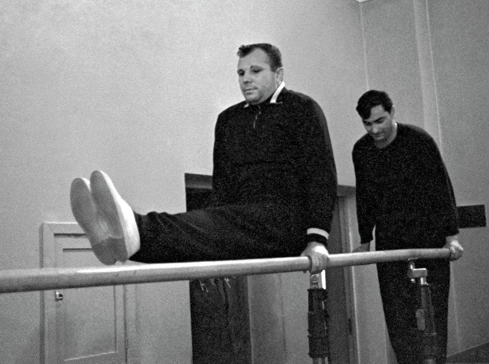 Cosmonauts Yuri Gagarin and Valery Bykovsky in the gym