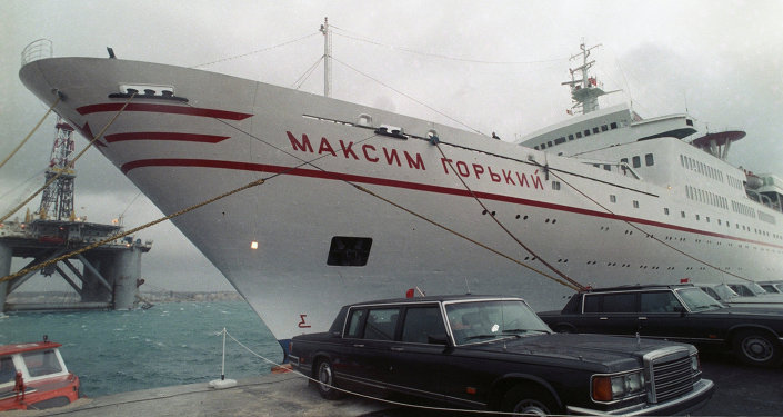 Maxim Gorky cruise ship, where the historic meeting took place, is docked in Malta