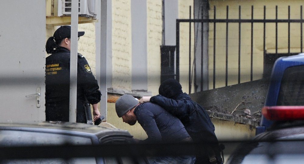 One of suspects of murder of the politician Boris Nemtsov is brought to Basmanny Court of the city of Moscow