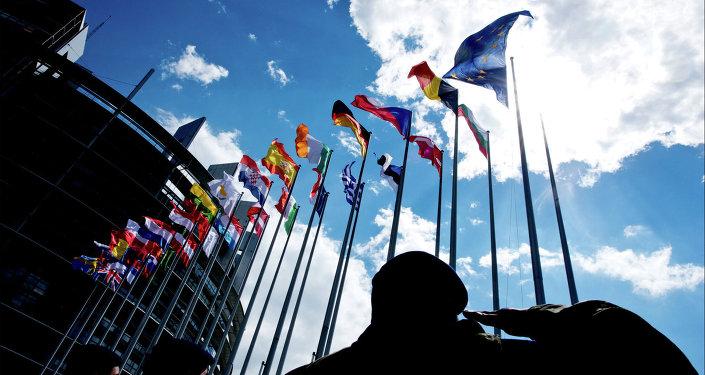 The EU flags in Strasbourg