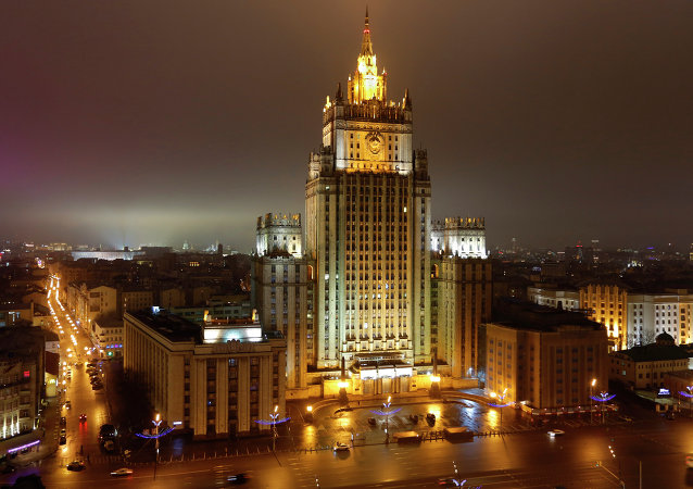 A night view of the Russian Foreign Ministry building in Moscow, Russia, Sunday, March 1, 2015