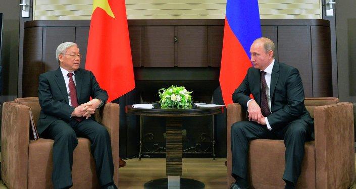 Russian President Vladimir Putin and Vietnamese Communist Party General Secretary Nguyen Phu Trong