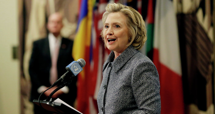Hillary Rodham Clinton answers questions at a news conference at the United Nations.