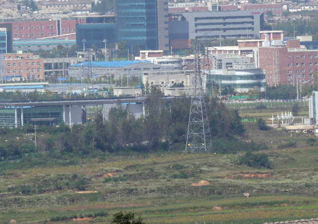 The industrial complex in Kaesong is seen from the Dora Observation Post in Paju near the border village of Panmunjom, which has separated the two Koreas since the Korean War, in Paju, north of Seoul, South Korea