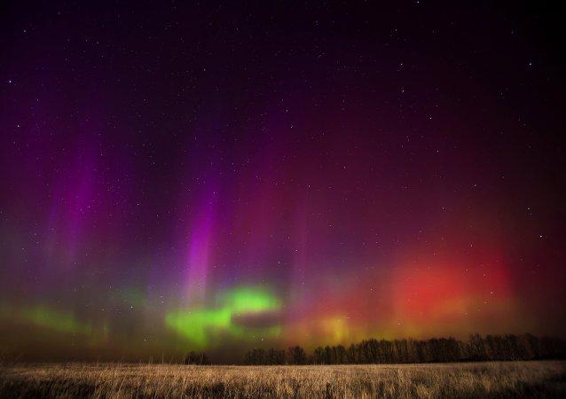 The northern lights, as seen in the Ryazan region of western Russia