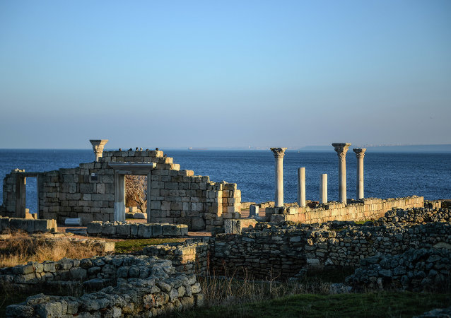 A section of the Chersonesus Tavrichesky National Reserve, including the ruins of the ancient city of Chersonesus.