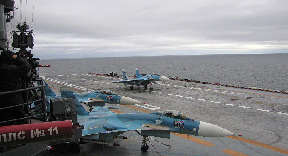 Aboard the Admiral Kuznetsov aircraft-carrying heavy cruiser in the Barents Sea.