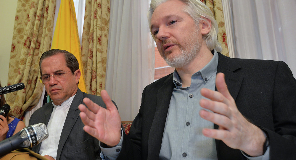 Julian Assange, with Ecuadorian Foreign Minister Ricardo Patiño, said in an Aug. 8 2014 press conference that he would be leaving the embassy soon, though denied he was going to hand himself over to British police.