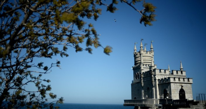The Swallow's Nest architectural monument on Avrora Cliff of Cape Ai-Todor in the Yalta District of the Crimea.