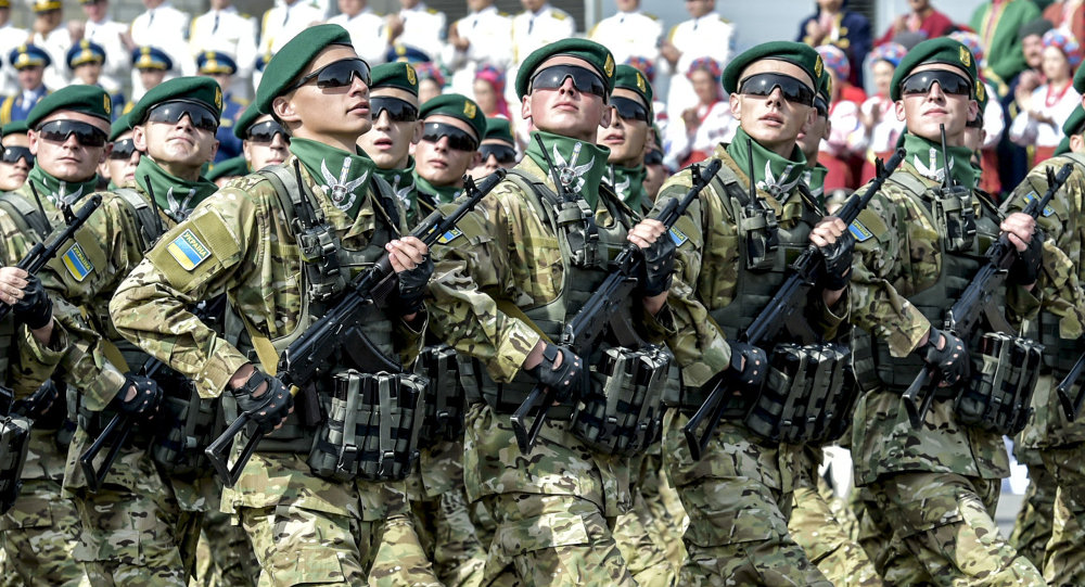 A military parade at Khreshchatyk Street on Independence Day in Kiev
