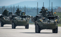 US Army Stryker infantry carrier vehicles convoy
