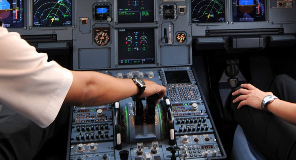 Pilots in the cockpit of an Airbus A320 at Cengkareng airport in Jakarta. File photo