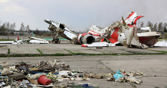 Polish President Lech Kaczynski's Tu-154 aircraft debris at Smolensk airfield's secured area