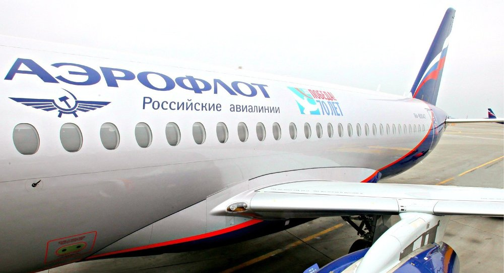 Aeroflot plane with WWII anniversary livery