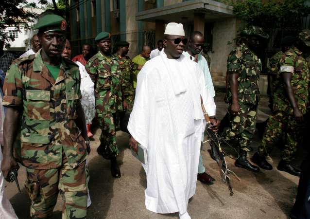Six Gambian soldiers were convicted over a failed coup attempt in late 2014 aimed at ousting President Yahya Jammeh, pictured here.