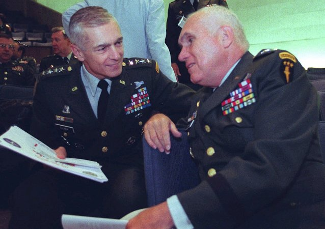Wesley Clark, left, talks with Gen. Robert H. Scales Jr